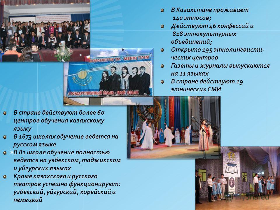 В стране действуют более 60 центров обучения казахскому языку В 1673 школах обучение ведется на русском языке В 81 школе обучение полностью ведется на узбекском, таджикском и уйгурских языках Кроме казахского и русского театров успешно функционируют: