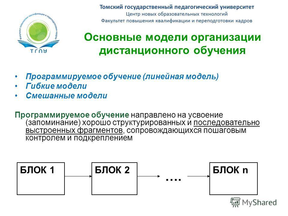 Основные модели организации дистанционного обучения Программируемое обучение (линейная модель) Гибкие модели Смешанные модели Программируемое обучение направлено на усвоение (запоминание) хорошо структурированных и последовательно выстроенных фрагмен