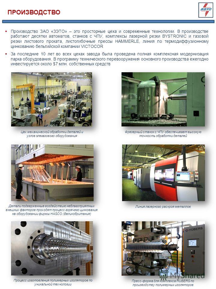 ПРОИЗВОДСТВО Производство ЗАО «ЗЭТО» – это просторные цеха и современные технологии. В производстве работают десятки автоматов, станков с ЧПУ, комплексы лазерной резки BYSTRONIC и газовой резки листового проката, листогибочные прессы HAMMERLE, линия