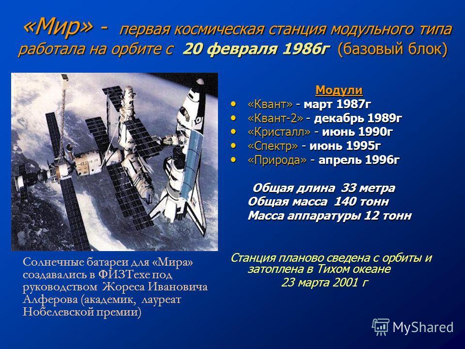 «Мир» - первая космическая станция модульного типа работала на орбите с 20 февраля 1986 г (базовый блок) «Мир» - первая космическая станция модульного типа работала на орбите с 20 февраля 1986 г (базовый блок) Модули «Квант» - март 1987 г «Квант» - м