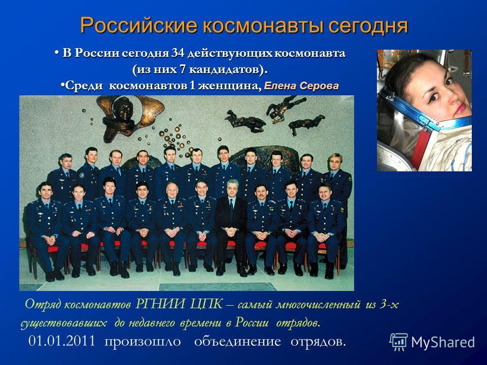 Российские космонавты сегодня В России сегодня 34 действующих космонавта В России сегодня 34 действующих космонавта (из них 7 кандидатов). Среди космонавтов 1 женщина, Елена Серова Среди космонавтов 1 женщина, Елена Серова Отряд космонавтов РГНИИ ЦПК
