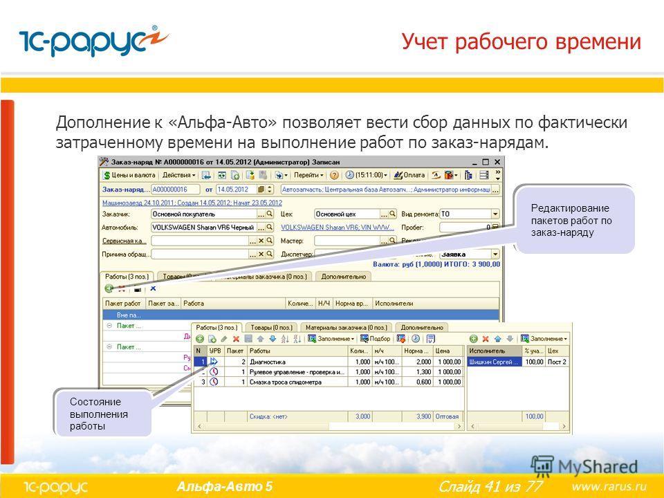 Слайд 41 из 77 Альфа-Авто 5 Учет рабочего времени Дополнение к «Альфа-Авто» позволяет вести сбор данных по фактически затраченному времени на выполнение работ по заказ-нарядам. Редактирование пакетов работ по заказ-наряду Состояние выполнения работы