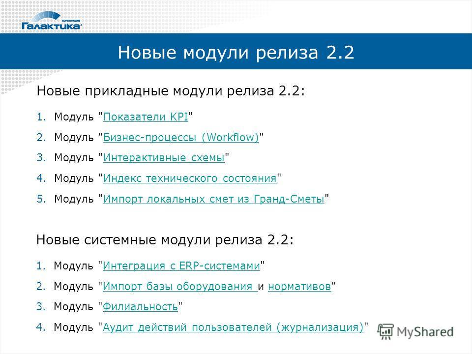 Новые модули релиза 2.2 Новые прикладные модули релиза 2.2: 1. Модуль