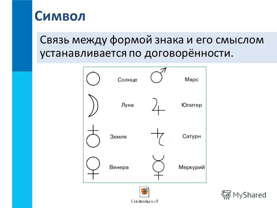 Связь между формой знака и его смыслом устанавливается по договорённости. Символ