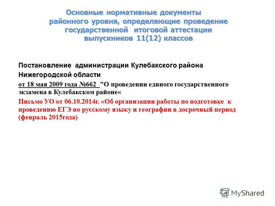 Основные нормативные документы районного уровня, определяющие проведение государственной итоговой аттестации выпускников 11(12) классов Постановление администрации Кулебакского района Нижегородской области от 18 мая 2009 года 662