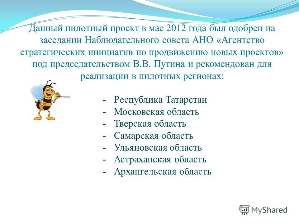 Данный пилотный проект в мае 2012 года был одобрен на заседании Наблюдательного совета АНО «Агентство стратегических инициатив по продвижению новых проектов» под председательством В.В. Путина и рекомендован для реализации в пилотных регионах: -Респуб