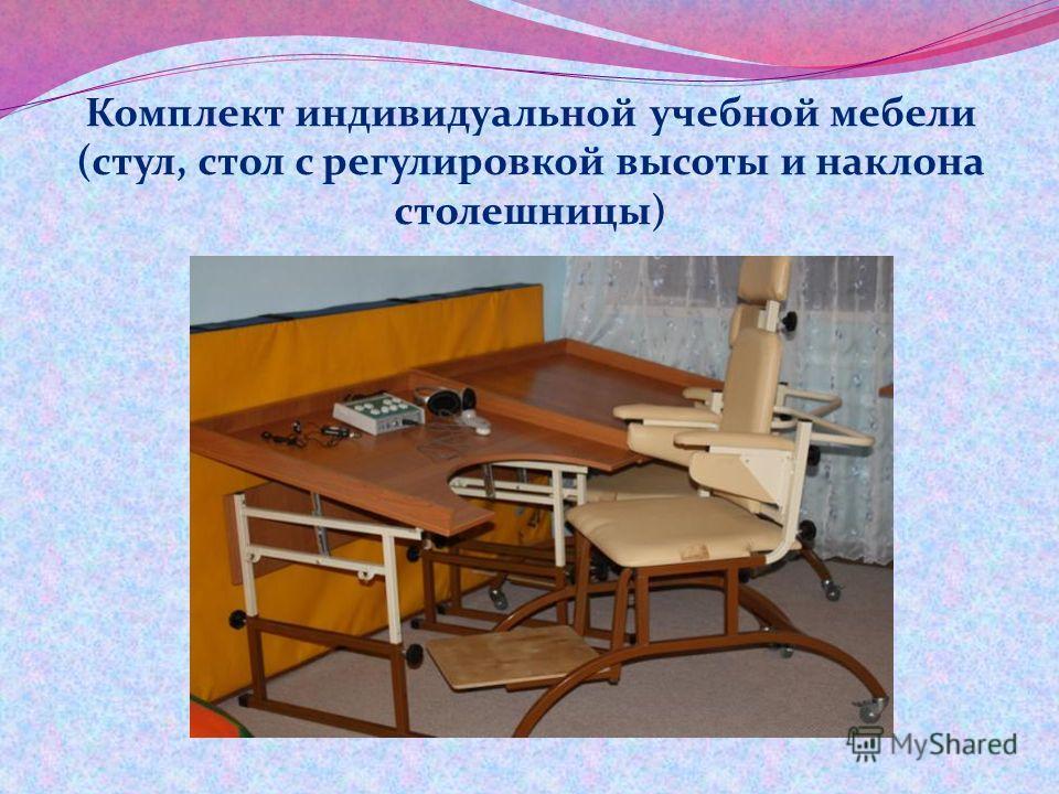Комплект индивидуальной учебной мебели (стул, стол с регулировкой высоты и наклона столешницы)
