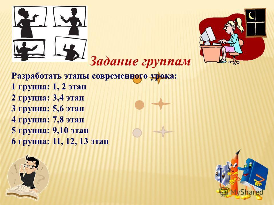 Задание группам Разработать этапы современного урока: 1 группа: 1, 2 этап 2 группа: 3,4 этап 3 группа: 5,6 этап 4 группа: 7,8 этап 5 группа: 9,10 этап 6 группа: 11, 12, 13 этап