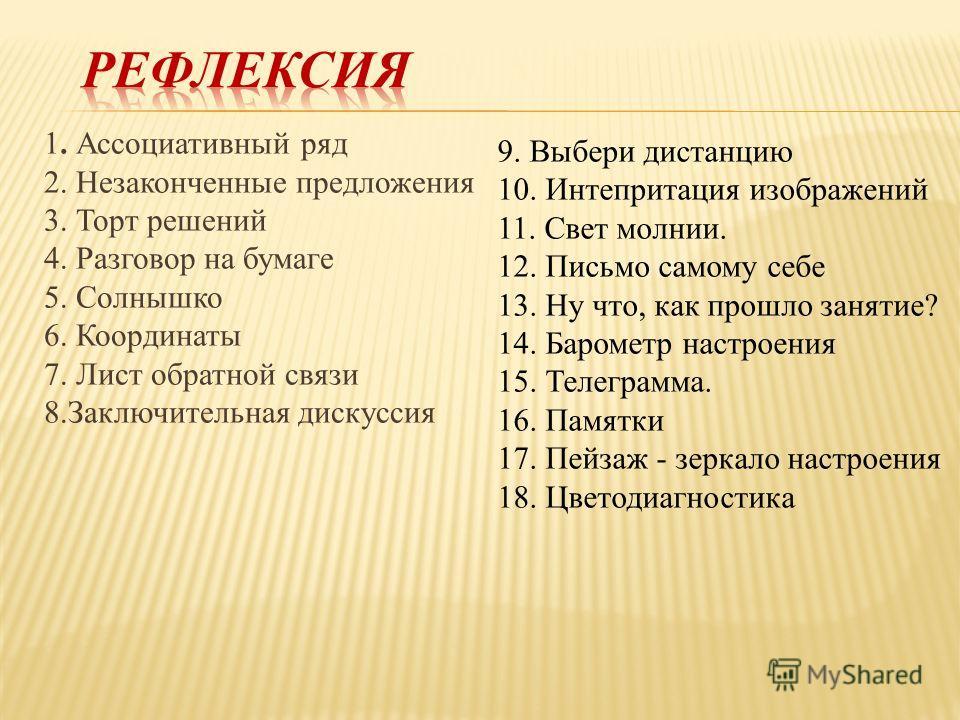 1. Ассоциативный ряд 2. Незаконченные предложения 3. Торт решений 4. Разговор на бумаге 5. Солнышко 6. Координаты 7. Лист обратной связи 8. Заключительная дискуссия 9. Выбери дистанцию 10. Интепритация изображений 11. Свет молнии. 12. Письмо самому с