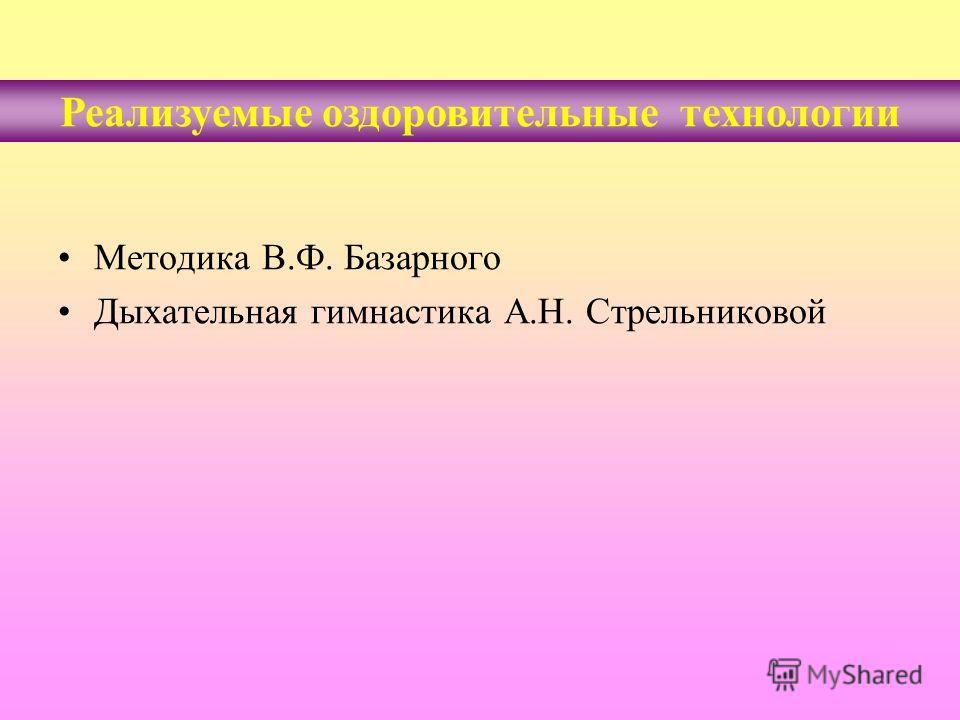 Реализуемые оздоровительные технологии Методика В.Ф. Базарного Дыхательная гимнастика А.Н. Стрельниковой