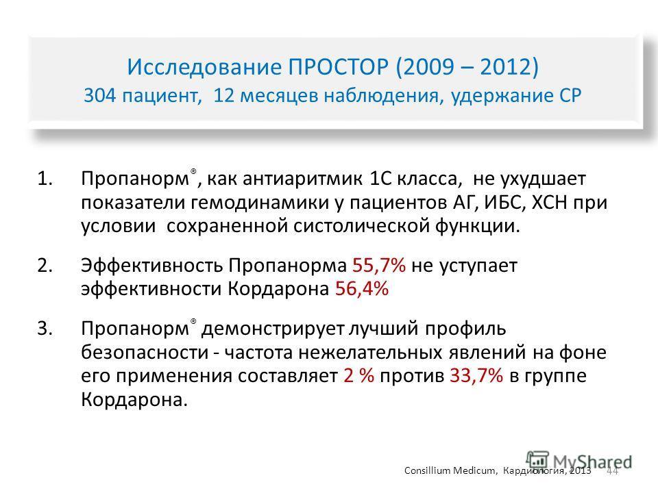 44 Исследование ПРОСТОР (2009 – 2012) 304 пациент, 12 месяцев наблюдения, удержание СР 1. Пропанорм ®, как антиаритмик 1C класса, не ухудшает показатели гемодинамики у пациентов АГ, ИБС, ХСН при условии сохраненной систолической функции. 2. Эффективн