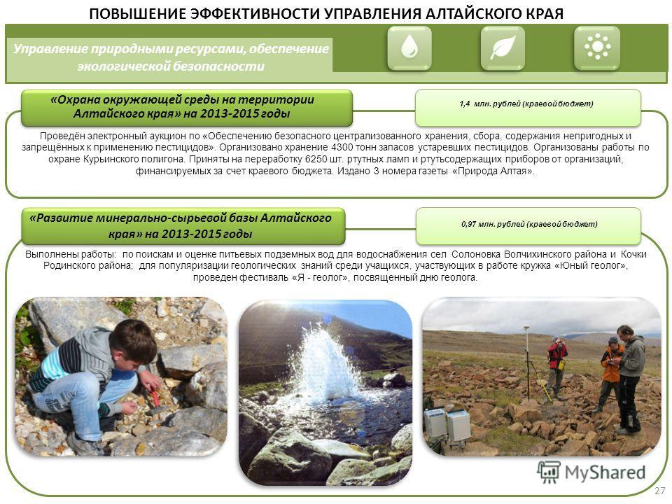Управление природными ресурсами, обеспечение экологической безопасности «Охрана окружающей среды на территории Алтайского края» на 2013-2015 годы ПОВЫШЕНИЕ ЭФФЕКТИВНОСТИ УПРАВЛЕНИЯ АЛТАЙСКОГО КРАЯ 1,4 млн. рублей (краевой бюджет) «Развитие минерально