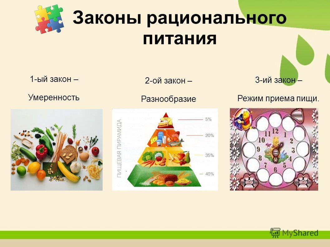 Законы рационального питания 1-ый закон – Умеренность 2-ой закон – Разнообразие 3-ий закон – Режим приема пищи.