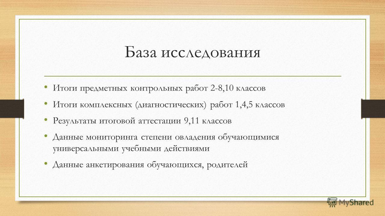 Презентация на тему Состояние и динамика учебных достижений  2 База исследования Итоги предметных контрольных работ