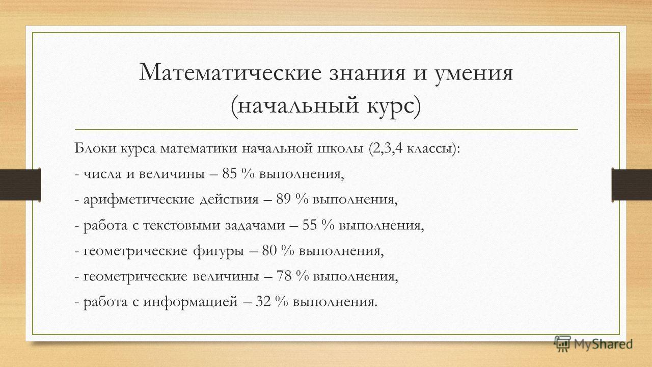 Математические знания и умения (начальный курс) Блоки курса математики начальной школы (2,3,4 классы): - числа и величины – 85 % выполнения, - арифметические действия – 89 % выполнения, - работа с текстовыми задачами – 55 % выполнения, - геометрическ