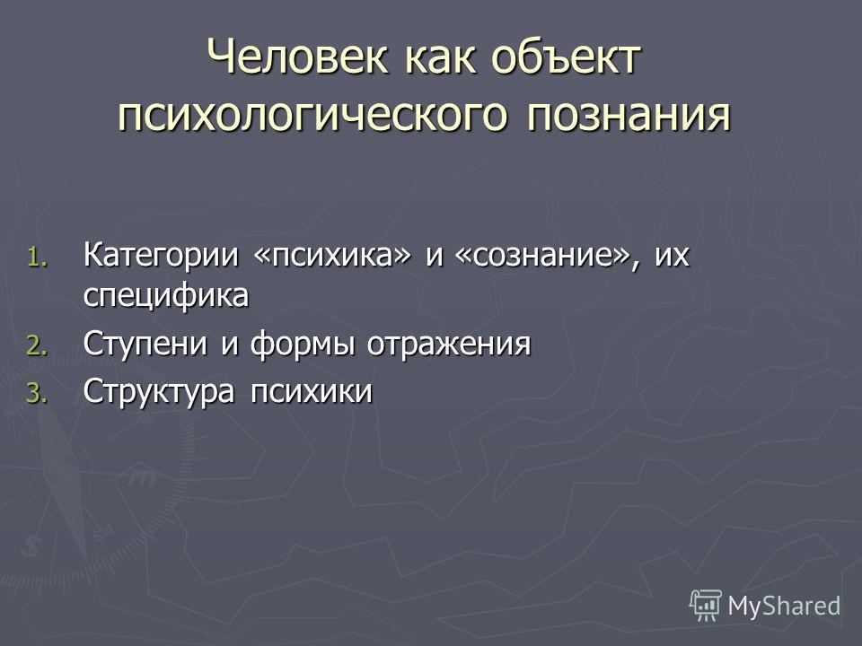 Человек как объект психологического познания 1. Категории «психика» и «сознание», их специфика 2. Ступени и формы отражения 3. Структура психики