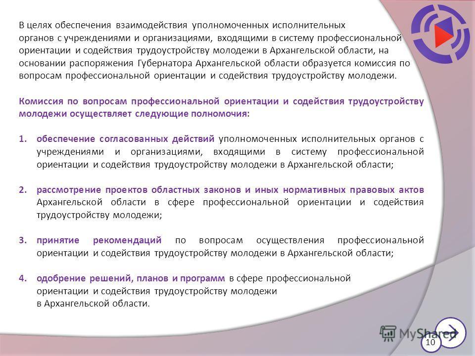 В целях обеспечения взаимодействия уполномоченных исполнительных органов с учреждениями и организациями, входящими в систему профессиональной ориентации и содействия трудоустройству молодежи в Архангельской области, на основании распоряжения Губернат