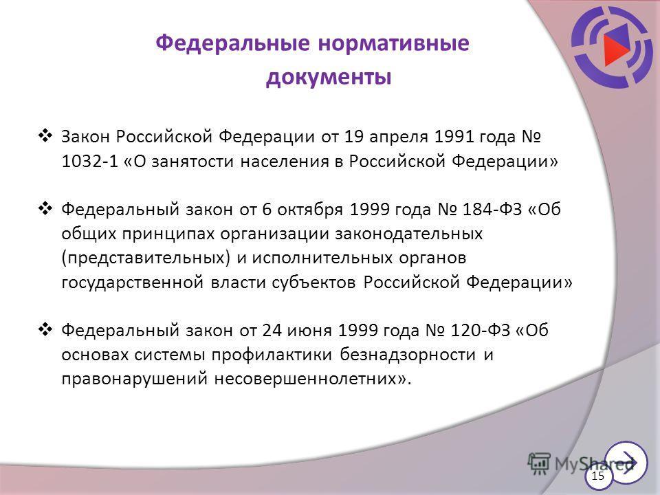 Закон Российской Федерации от 19 апреля 1991 года 1032-1 «О занятости населения в Российской Федерации» Федеральный закон от 6 октября 1999 года 184-ФЗ «Об общих принципах организации законодательных (представительных) и исполнительных органов госуда