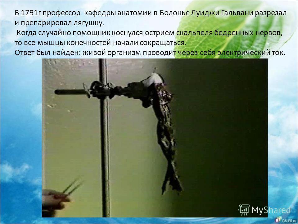 В 1791 г профессор кафедры анатомии в Болонье Луиджи Гальвани разрезал и препарировал лягушку. Когда случайно помощник коснулся острием скальпеля бедренных нервов, то все мышцы конечностей начали сокращаться. Ответ был найден: живой организм проводит