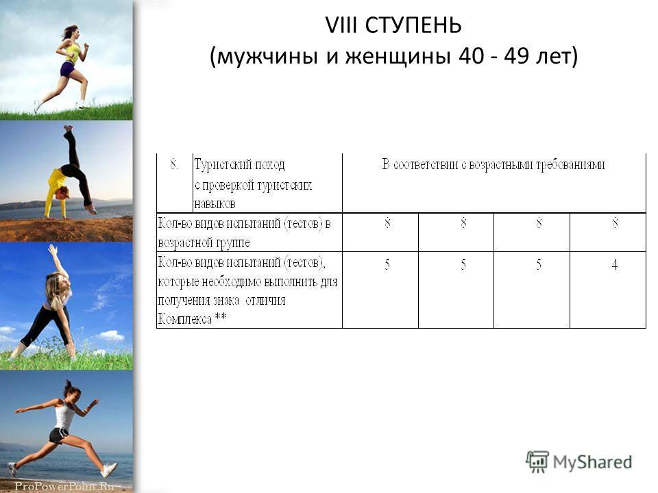 ProPowerPoint.Ru VIII СТУПЕНЬ (мужчины и женщины 40 - 49 лет) 1. Виды испытаний (тесты) и нормы