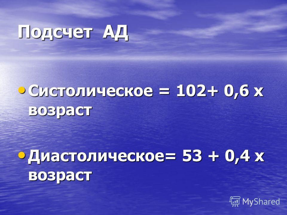 Подсчет АД Систолическое = 102+ 0,6 х возраст Систолическое = 102+ 0,6 х возраст Диастолическое= 53 + 0,4 х возраст Диастолическое= 53 + 0,4 х возраст