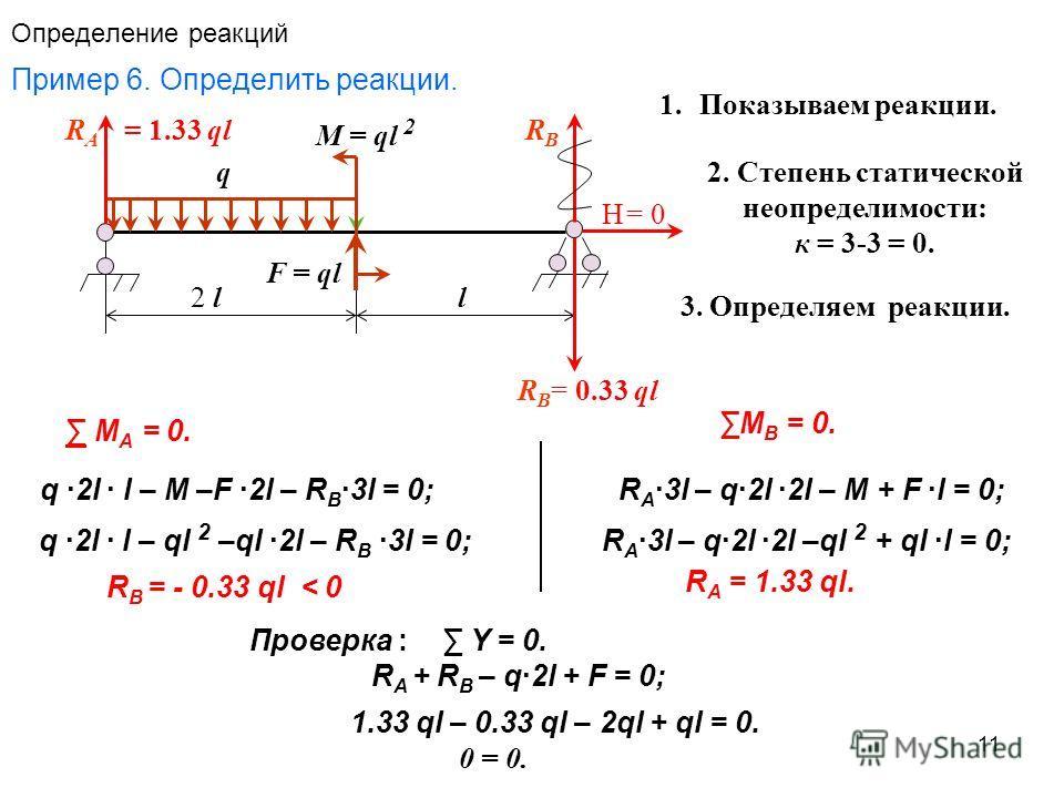11 Определение реакций Пример 6. Определить реакции. F = ql q M = ql 2 2 l l RARA RBRB RBRB = 0.33 ql = 1.33 ql Н= 0 М А = 0. q 2l l – M –F 2l – R B 3l = 0; q 2l l – ql 2 –ql 2l – R B 3l = 0; R B = - 0.33 ql < 0 M B = 0. R A = 1.33 ql. R A 3l – q2l 2