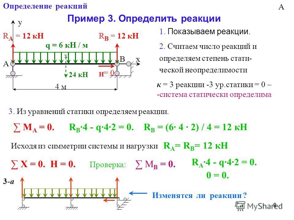 8 Определение реакций Пример 3. Определить реакции х y q = 6 кН / м А В RARA 4 м RВRВ х 24 кН Н R B ·4 - q·4·2 = 0. R B = (6· 4 · 2) / 4 = 12 кН Исходя из симметрии системы и нагрузки R A = R B = 12 кН Х = 0. Н = 0. R А ·4 - q·4·2 = 0. 0 = 0. Изменят