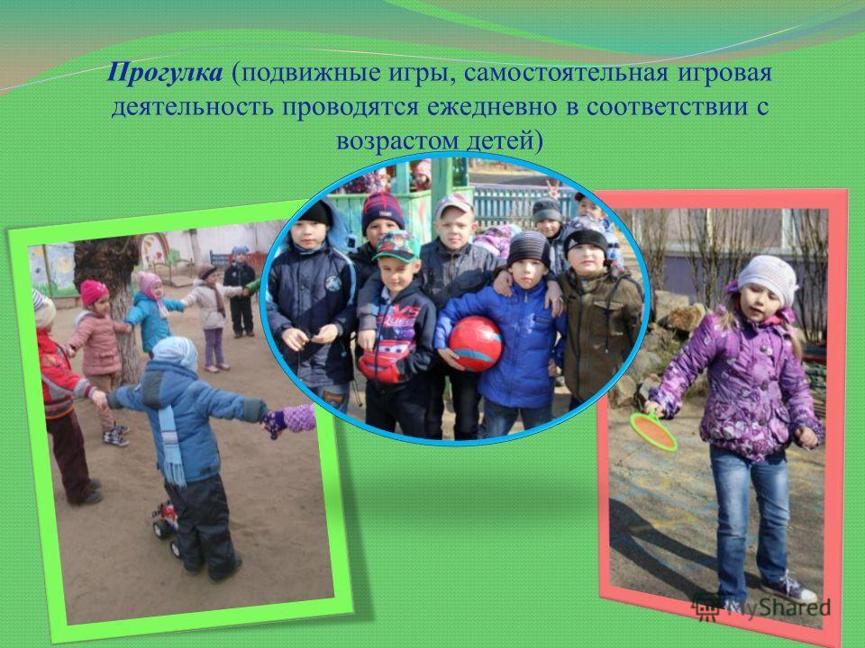 Прогулка (подвижные игры, самостоятельная игровая деятельность проводятся ежедневно в соответствии с возрастом детей)