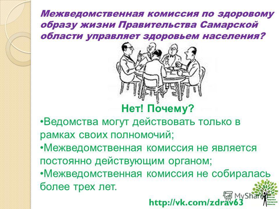 Межведомственная комиссия по здоровому образу жизни Правительства Самарской области управляет здоровьем населения? Нет! Почему? Ведомства могут действовать только в рамках своих полномочий; Межведомственная комиссия не является постоянно действующим