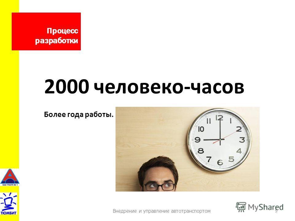 Внедрение и управление автотранспортом Процесс разработки 9 2000 человеко-часов Более года работы.
