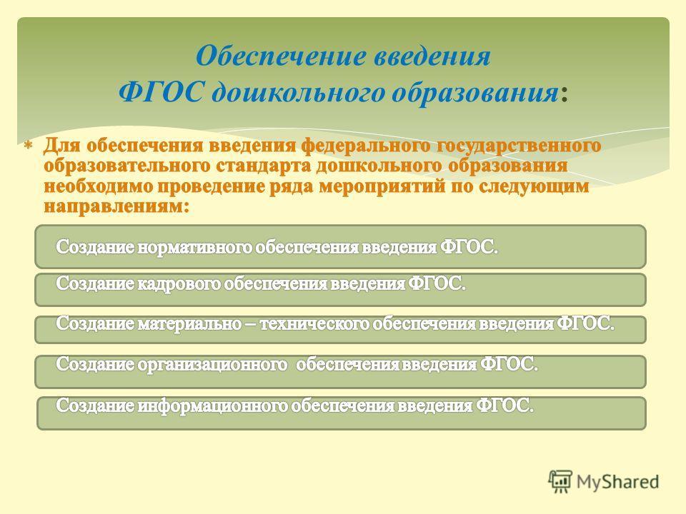 Обеспечение введения ФГОС дошкольного образования:
