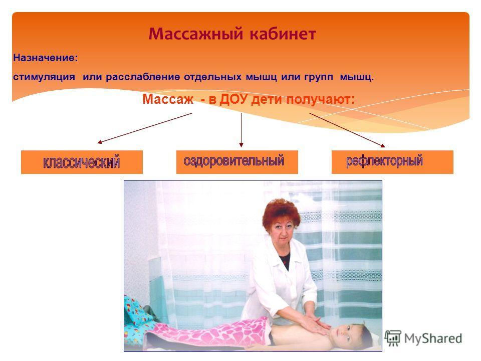 Массажный кабинет Назначение: стимуляция или расслабление отдельных мышц или групп мышц. Массаж - в ДОУ дети получают: