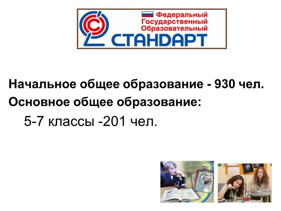 Начальное общее образование - 930 чел. Основное общее образование: 5-7 классы -201 чел.