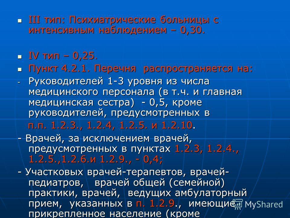 III тип: Психиатрические больницы с интенсивным наблюдением – 0,30. III тип: Психиатрические больницы с интенсивным наблюдением – 0,30. IV тип – 0,25. IV тип – 0,25. Пункт 4.2.1. Перечня распространяется на: Пункт 4.2.1. Перечня распространяется на:
