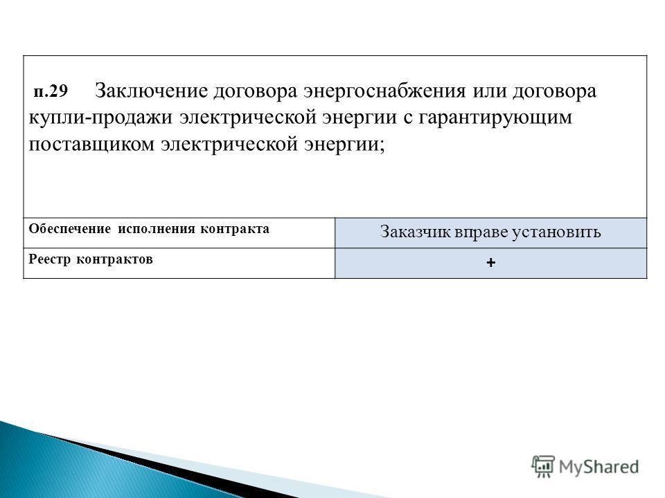 п.29 Заключение договора энергоснабжения или договора купли-продажи электрической энергии с гарантирующим поставщиком электрической энергии; Обеспечение исполнения контракта Заказчик вправе установить Реестр контрактов +
