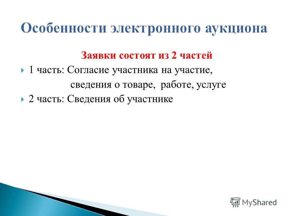 Заявки состоят из 2 частей 1 часть: Согласие участника на участие, сведения о товаре, работе, услуге 2 часть: Сведения об участнике