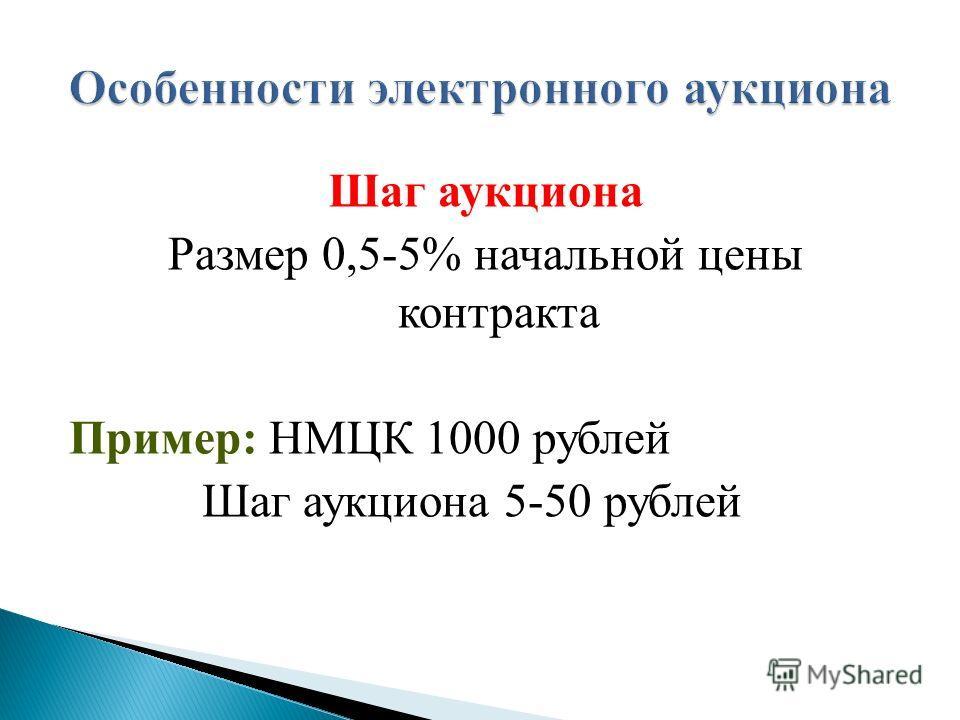 Шаг аукциона Размер 0,5-5% начальной цены контракта Пример: НМЦК 1000 рублей Шаг аукциона 5-50 рублей