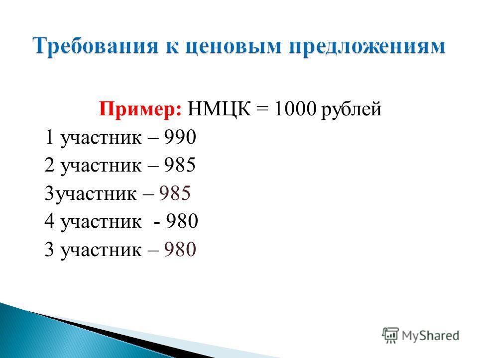 Пример: НМЦК = 1000 рублей 1 участник – 990 2 участник – 985 3 участник – 985 4 участник - 980 3 участник – 980