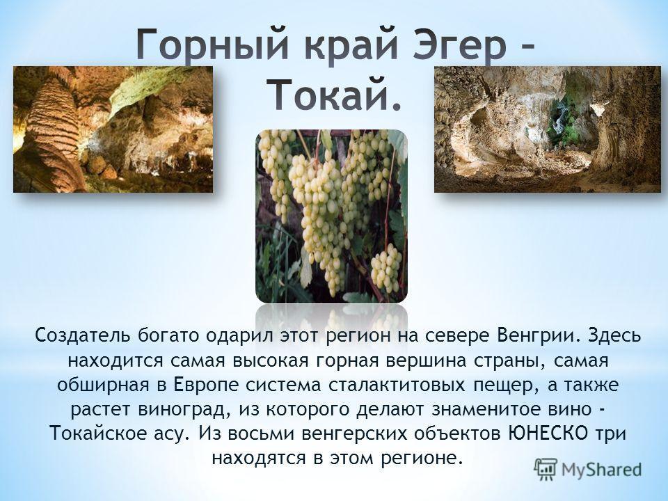 Создатель богато одарил этот регион на севере Венгрии. Здесь находится самая высокая горная вершина страны, самая обширная в Европе система сталактитовых пещер, а также растет виноград, из которого делают знаменитое вино - Tокайское асу. Из восьми ве