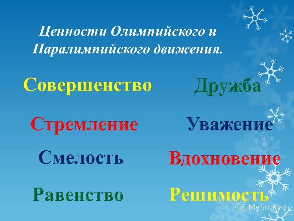 Ценности Олимпийского и Паралимпийского движения.