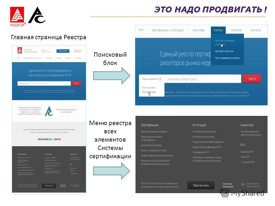 Главная страница Реестра Поисковый блок Меню реестра всех элементов Системы сертификации ЭТО НАДО ПРОДВИГАТЬ !