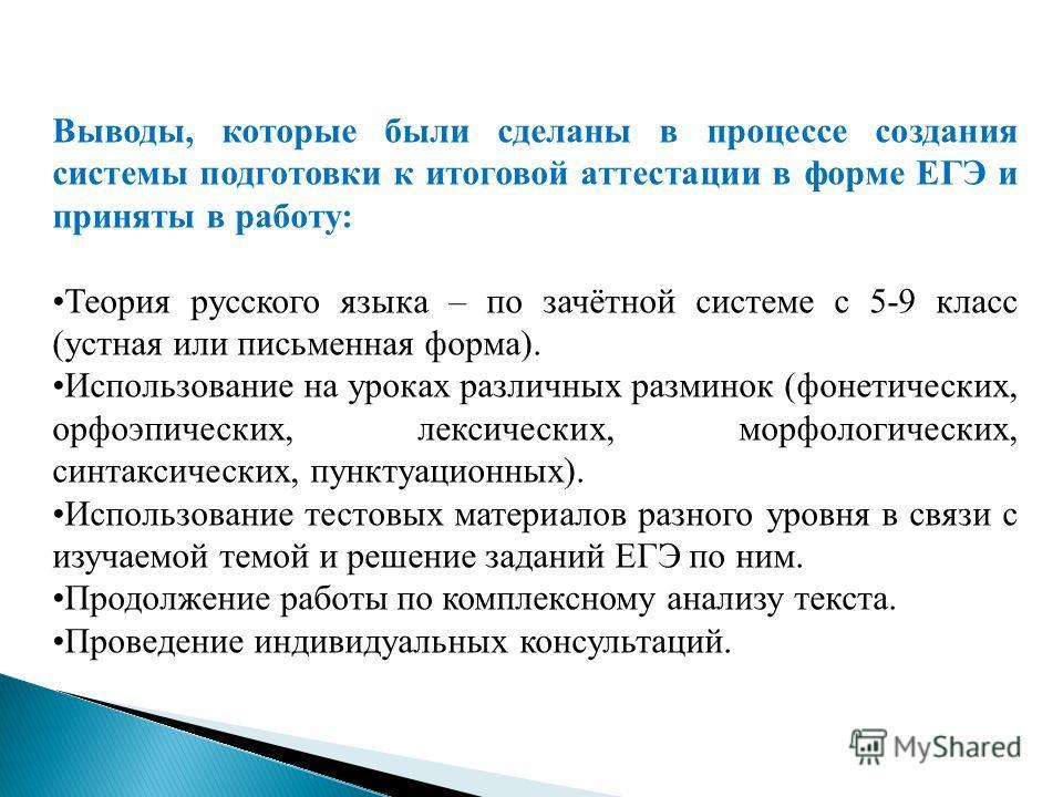 Выводы, которые были сделаны в процессе создания системы подготовки к итоговой аттестации в форме ЕГЭ и приняты в работу: Теория русского языка – по зачётной системе с 5-9 класс (устная или письменная форма). Использование на уроках различных размино