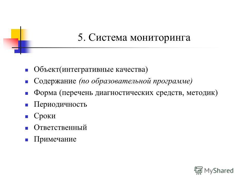 5. Система мониторинга Объект(интегративные качества) Содержание (по образовательной программе) Форма (перечень диагностических средств, методик) Периодичность Сроки Ответственный Примечание