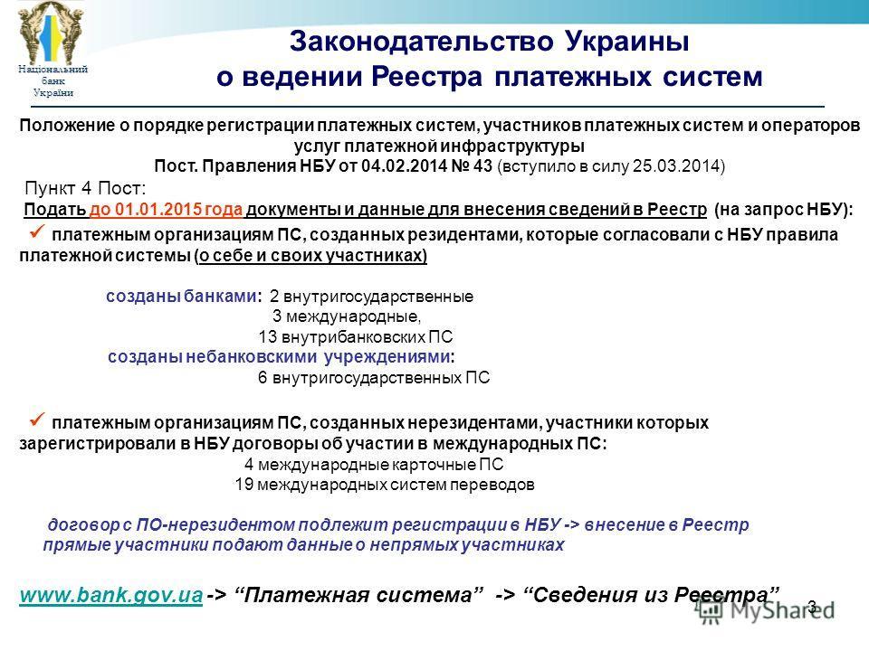 Національнийбанк України 3 Законодательство Украины о ведении Реестра платежных систем Положение о порядке регистрации платежных систем, участников платежных систем и операторов услуг платежной инфраструктуры Пост. Правления НБУ от 04.02.2014 43 (вст