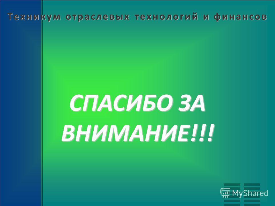 Техникум отраслевых технологий и финансов СПАСИБО ЗА ВНИМАНИЕ!!!