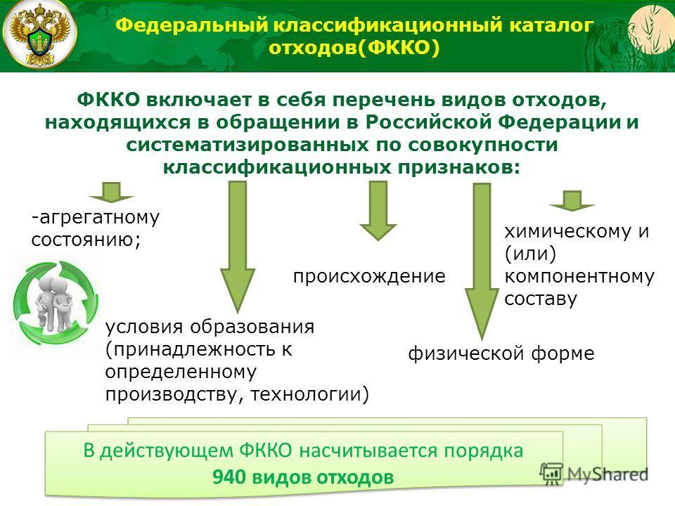 ФККО включает в себя перечень видов отходов, находящихся в обращении в Российской Федерации и систематизированных по совокупности классификационных признаков: происхождение условия образования (принадлежность к определенному производству, технологии)