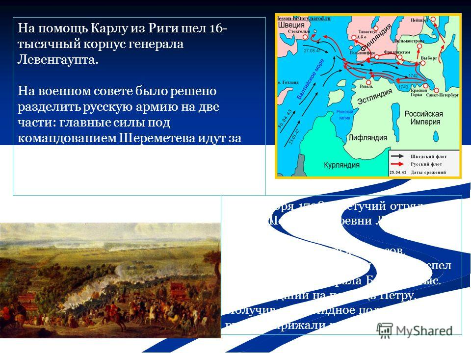 На помощь Карлу из Риги шел 16- тысячный корпус генерала Левенгаупта. На военном совете было решено разделить русскую армию на две части: главные силы под командованием Шереметева идут за Карлом на Украину, а небольшую легкую и подвижную часть послат