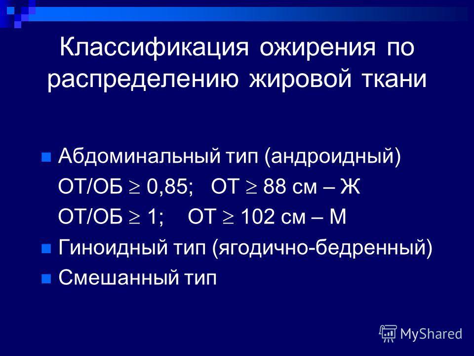 Классификация ожирения по распределению жировой ткани Абдоминальный тип (андроидный) ОТ/ОБ 0,85; ОТ 88 см – Ж ОТ/ОБ 1; ОТ 102 см – М Гиноидный тип (ягодично-бедренный) Смешанный тип
