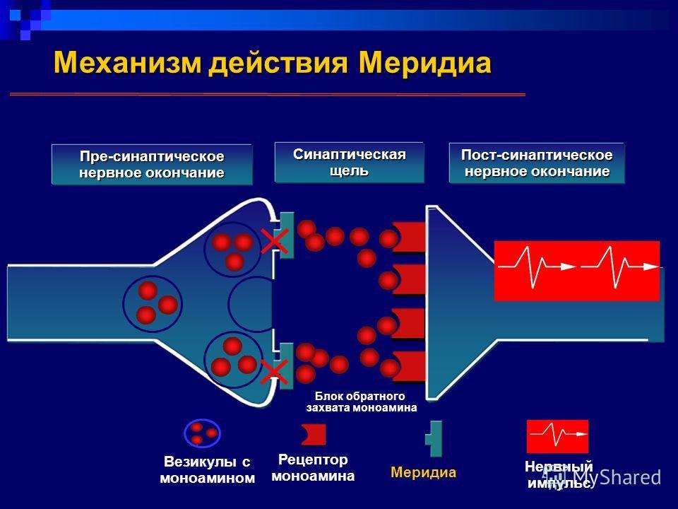 Механизм действия Меридиа Пре-синаптическое нервное окончание Синаптическая щель Пост-синаптическое нервное окончание Везикулы с моноамином Рецептор моноамина Меридиа Нервный импульс Блок обратного захвата моноамина