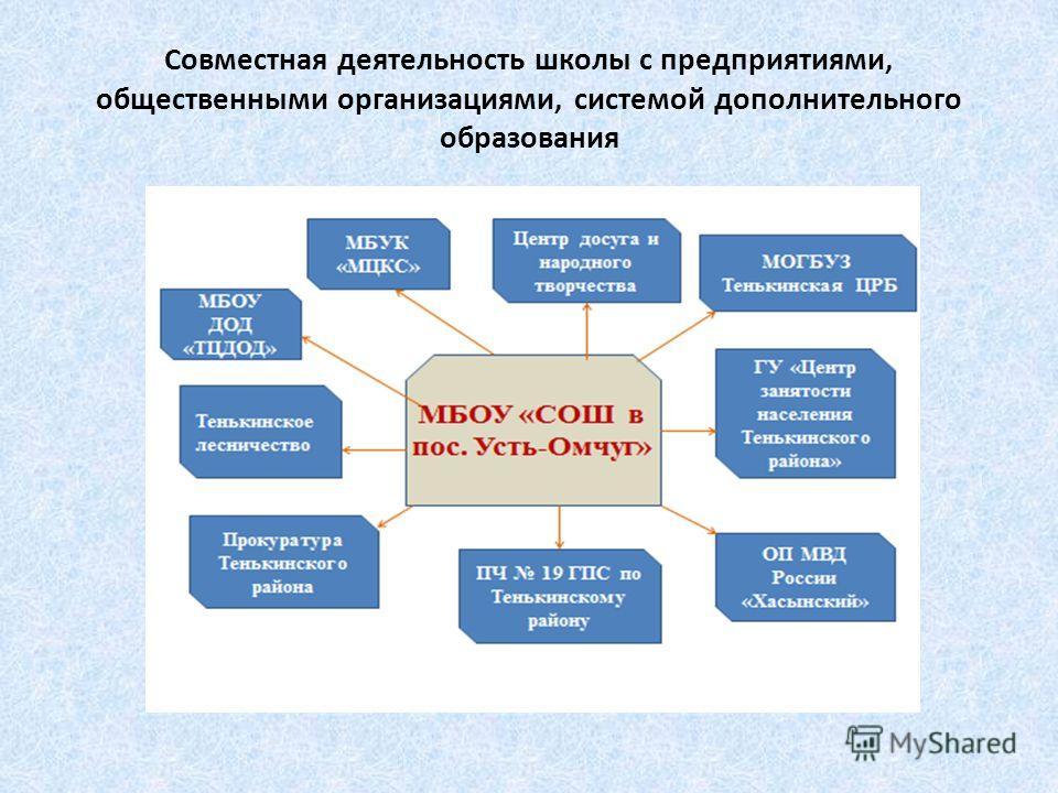 Совместная деятельность школы с предприятиями, общественными организациями, системой дополнительного образования